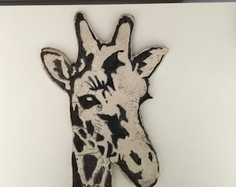 Ceramic raku Bas relief Giraffe, wall decoration