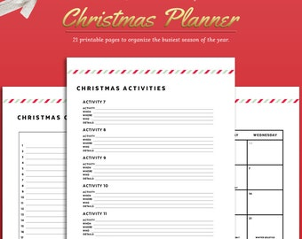 Printable 2017 Christmas Planner Kit with 19 pages Editable