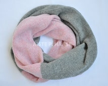 Cashmere infinity scarf, Cashmere loop shawl, Cashmere snood, Knitted cashmere scarf, Grey/rose cashmere scarf, Cashmere snood, Circle scarf