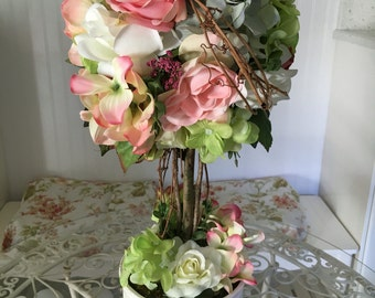 Flower topiary - shabby chic flowers - rose decor - hydrangea decor - wedding topiary - silk arrangement - floral home decor - topiary tree