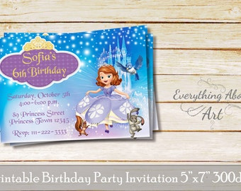 Sofia the first invitation, Sofia the 1st invitation, Sofia the first birthday invitation, Princess birthday invitation,Printable invitation