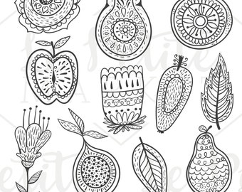 Folk Fruit Clip Art, Hand Drawn Kitchen Clipart, Hand Drawn Fruit Clipart, Hand Drawn Folk Clip Art Illustrations, Fruit Digital Stamps