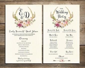 Wedding program printable, Deer antlers Floral Wedding Program Boho Watercolor Flower Ceremony Program Printable digital files