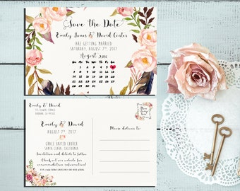 Printable Save the Date Calendar Postcard Wedding calendar printable Save the Date, Double sided Save the Date, Digital Files - PF-18
