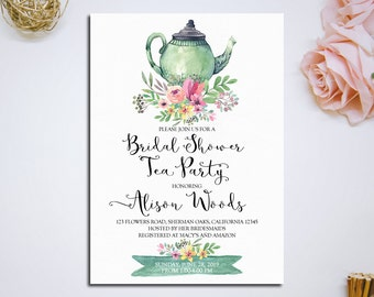 Bridal Shower Tea Party Invitation Printable Bridal Tea Party Invitation Bridal Tea Invitation Tea Party Bridal Shower Invitation - ITP-33