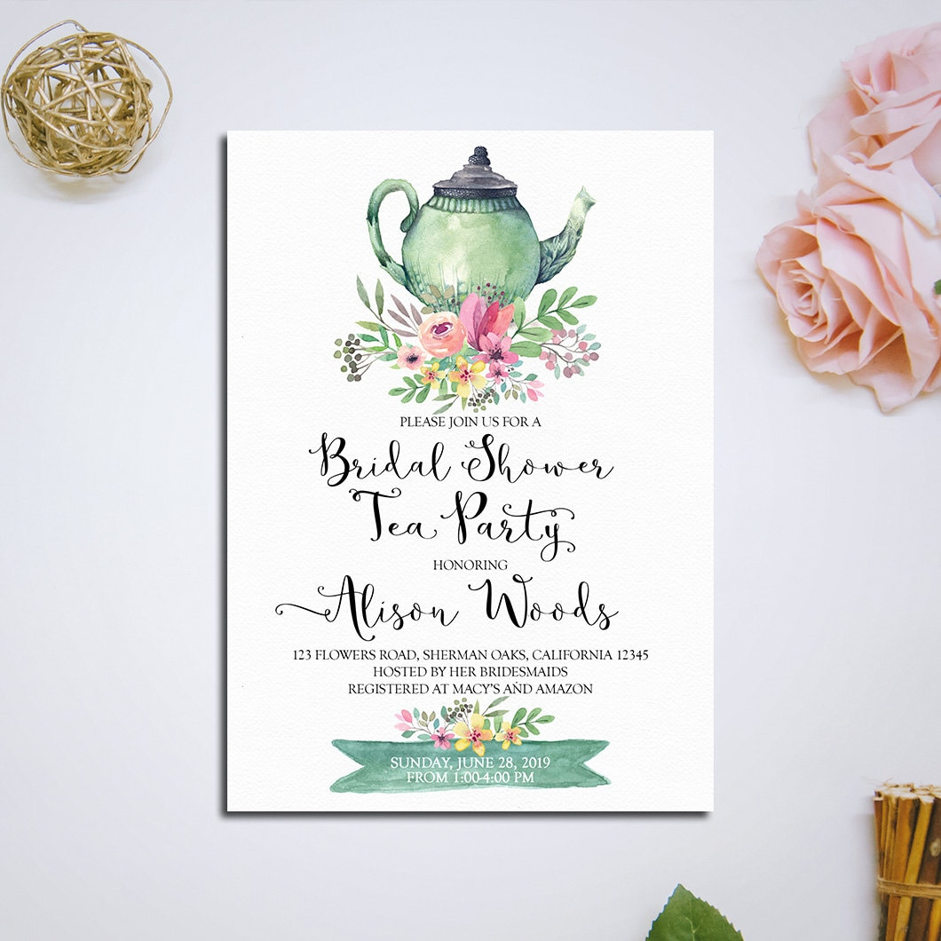 Wedding Party Invitations: Bridal Shower Tea Party Invitation Printable Bridal Tea Party