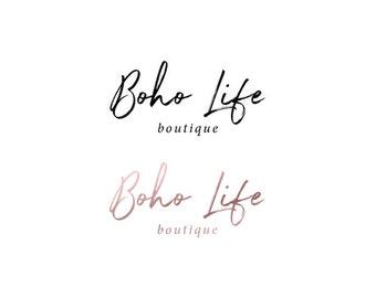 Calligraphy Pink Gold Foil Photography Logo Duo | Boho Logo | Cursive logo | Brush Logo | Calligraphy logo | Boutique Logo | Watercolor Logo