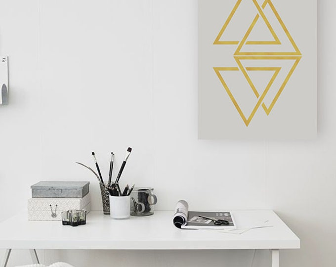 Minimalist Geometric Printable Poster / Golden Triangles 50X70 Poster / Modern Golden / Grey Poster / Minimalist Wall Art
