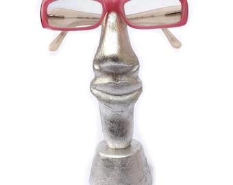 Wood sculpture Nose glasses holder gift idea made to order