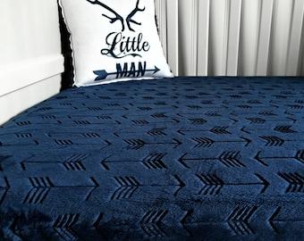 Minky Crib Sheet - Navy
