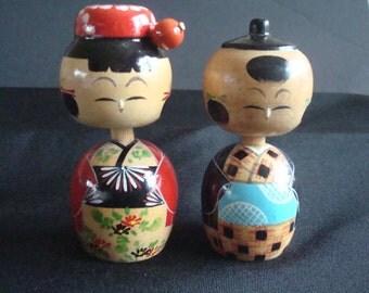 Kokeshi bobble head dolls, Japanese Kokeshi dolls, Wood Japanese dolls, Wood hand crafted Kokeshi dolls, Kokeshi hand painted dolls