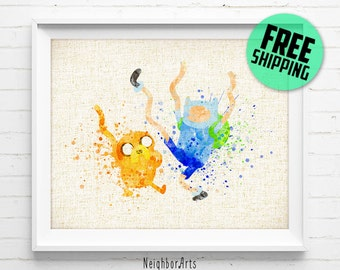 FREE SHIPPING- Jake and Finn art print, Adventure Time, poster, watercolor, abstract, illustration, nursery, kids, wall art, home decor 112