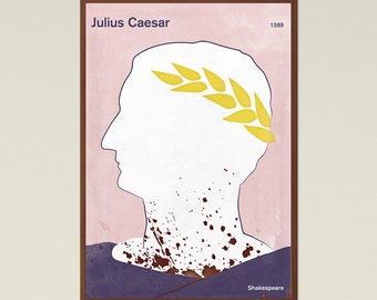 Julius Caesar, Shakespeare - Large literary poster, literary gift, minimalist poster, bookish gift, book cover poster, digital download