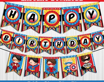 50% OFF SALE SuperHeroes Super Heroes / Banner / Instant Download / Party Printable / Happy Birthday / Boys Boy