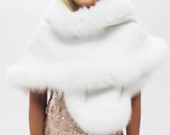 White Fur Trim Shawl / Capelet / Stole