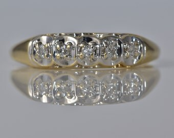 Vintage 5 single cut Diamonds/Yellow Gold Band/ set in White Gold/ Retro/Cottage Chic/ Engagement/ Wedding/ Right Hand Stacking Band LB157