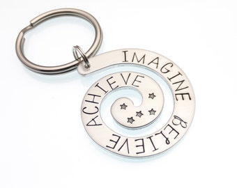 Imagine Believe Achieve | Inspirational Keychain | Spiral Keychain | Hand Stamped Keychain | Imagine Keychain | Gift For Graduation