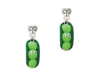 Peas in a pod scroll heart earrings posts, pea pods, pea pod jewelry, peas in a pod, peas in a pod jewelry, green peas in a pod earrings