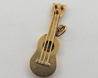 Guitar 18K Gold Vintage Charm For Bracelet