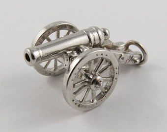 Cannon Mechanical Sterling Silver Vintage Charm For Bracelet