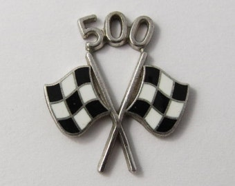 Indy 500 Racing Flags With White and Black Enamel Sterling Silver Charm For Bracelet