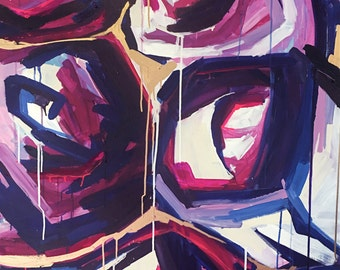 """00 SOLD  36"""" x 48"""" War of the Roses"""" Abstract"""