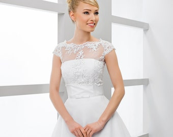 Beautiful cap selleve Bridal Lace Top, White Ivory Lace Bridal Cover Up