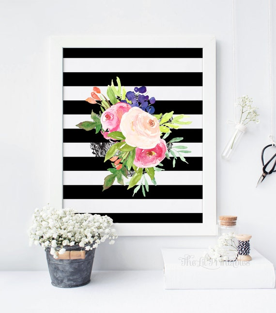 Black And White Floral Wall Decor : Items similar to black and white floral wall art