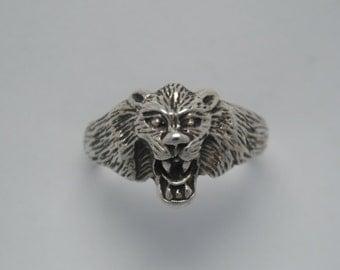 Tiger ring sterling silver