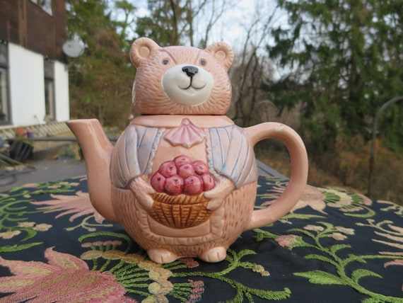 Cute Pink Vintage Teddy Bear Teapot Holding Apples In A Basket
