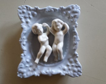Hand painted Plaster Frame with Cherubs