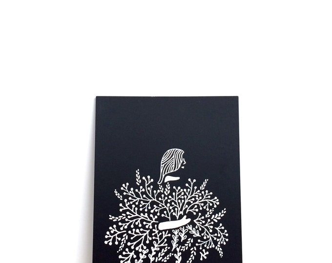 "Girl Holding Flowers Print (Jessie) | 6"" x 8"" | Art Print, Digital Print, Black & White | Home Wall Decor"