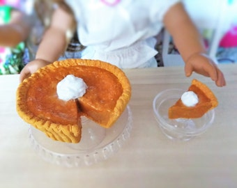 Doll Pumpkin Pie fits American girl, 18 inch Doll Food, AG Doll Food, Dessert for Dolls, Doll Pie with Whipped Cream