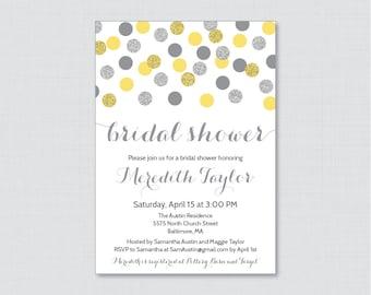 Yellow and Gray Bridal Shower Invitation Printable - Yellow and Silver Glitter Dots Bridal Shower Invites - Silver Glitter Bridal 0001-Y