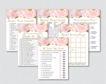 Pink Floral Bridal Shower Games Package with Six Games- Printable Blush Pink Gold Flower Garden Bridal Games - He Said, Bingo, etc 0007
