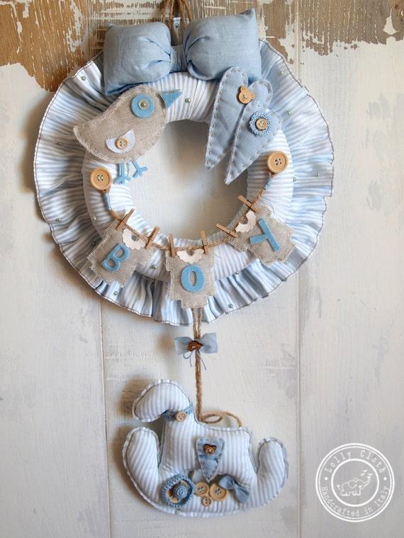 Baby boy birth wreath hospital door hanger by lollycloth for Baby boy hospital door decoration