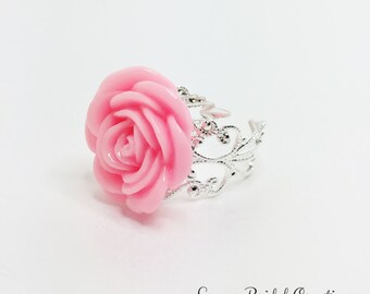 Pink Flower Ring Baby Pink Rose Ring Filigree Costume Ring Pink Bridesmaid Gift Pink Bridal Party Gift Anytime Ring Pretty Flower Girl Ring