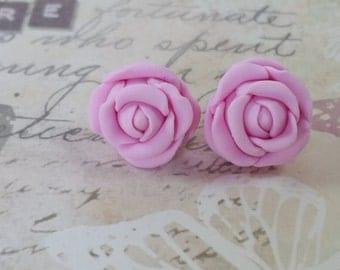 Pastel pink ROSE Stud Earrings polymer clay