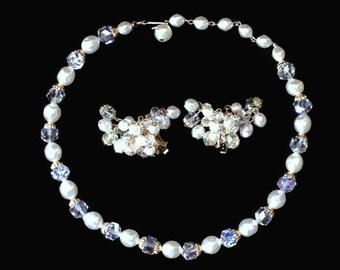 Vintage Pearl And Aurora Borealis Crystal Jewelry Set, Bridal Jewelry Set, Bridal Jewelry, Pearl And Crystal Bridal Jewelry,  Prom Jewelry