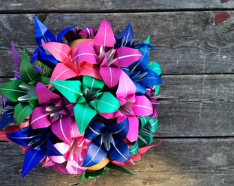 Purple, Blue, Pink, and Green Origami Lilies. Paper Flower Bouquet