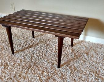 Mid Century Danish Modern Wood Slat Table