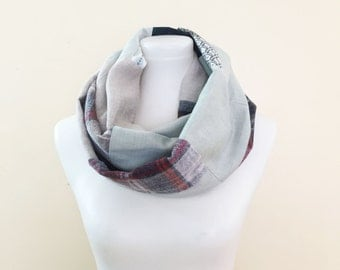 Eco infinity scarf, upcycled scarf, patchwork scarf, man's shirt repurposed, recycled scarf, circle scarf, ready to ship