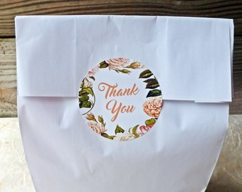 Thank You Printable Stickers White Pink Cream Floral Flower Border for Weddings or Parties Download and Print on 2 Inch Round Stickers