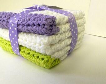 Cotton wash cloths, Cotton dish cloths, Wash cloth set, Crochet wash cloths