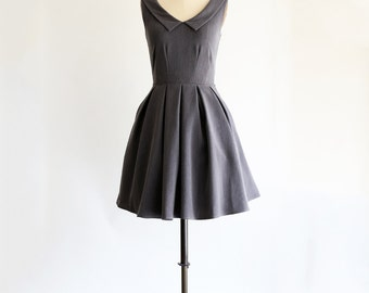 SUNDAY | Charcoal - dark charcoal gray pointed collar dress. vintage inspired. bridesmaid dress. v neck. pleated skirt. pockets. mod. retro.