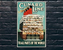 Cunard Line Travel Poster, Travel Print, Tourism Wall Art, Vintage Travel Poster Print, Sticker and Canvas Print