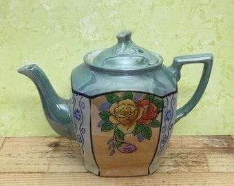 Lusterware Teapot Floral Design Japan Blue Gray and Peach
