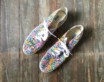 Vintage Black + White Polka Dot Orange and Pink Flowers Canvas Lace Up Sneakers