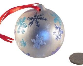 Silver Snowflake Bauble, Christmas Ball Decoration, Handpainted Xmas Ornament, Seasonal Keepsake, Family Tree Decoration, Hanging Ornament