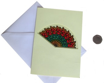 Oriental Fan Card, Glass Painted Card, Chinese New Year, Birthday Card, Oriental Card, Card for her